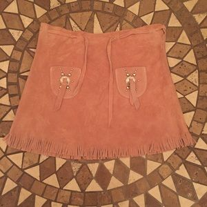 Vintage Leather Fringe Festival Skirt